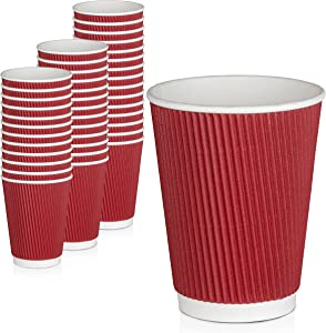 [50 Pack] Disposable Coffee Cups - 12oz Dark Red Double Wall Insulated Ripple Sleeves To Go Coffee Cups - Kraft Paper Cups for Chocolate, Tea, Cocoa Drinks - Sturdy, Food Safe, Eco-Friendly Hot Cups
