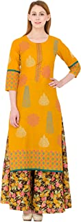 Zoeyams Women's Mustured Cotton printed Long Straight kurti