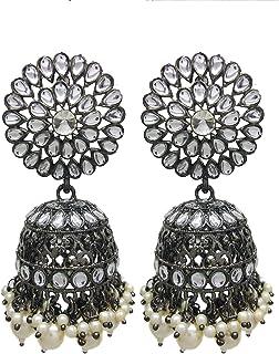 Total Fashion Naira Inspired Traditional Studded Big Jhumka Jhumki Earrings For Women & Girls