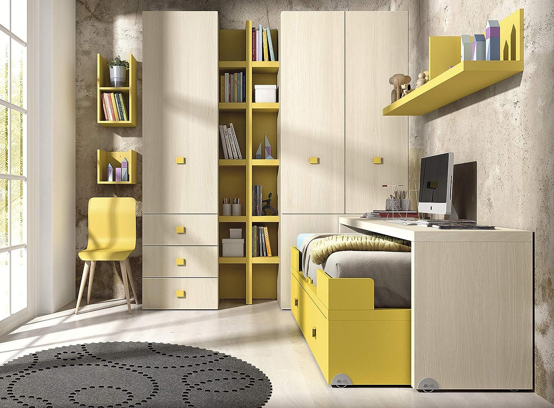 Ambiato Kinderzimmer Vita 13 Bettmodul mit ausziehbaren Schreibtisch auf Rollen, einfach praktisch und ideal für wenig Platz,Kleiderschrank mit Regalsystem, Wandregal, Regalwürfel