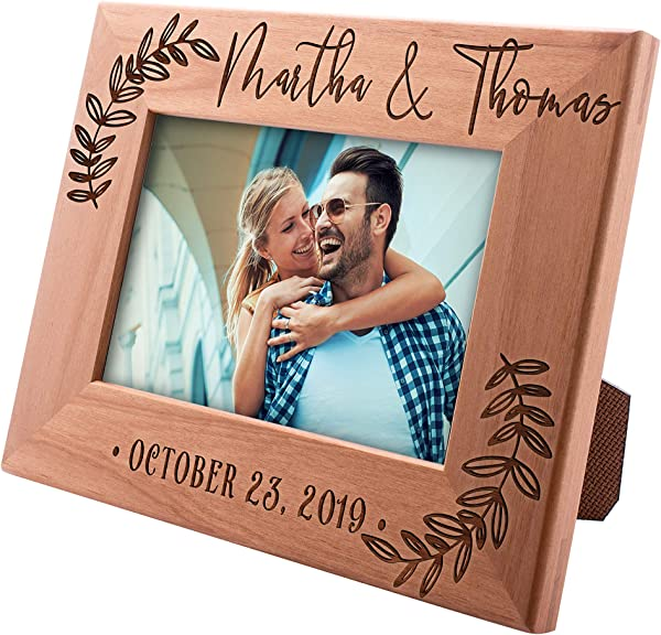 UnitedCraftSupplies Personalized Wedding Picture Frame W Name And Date 4x6 5x7 8x10 Romantic Wedding Gifts For The Couple Custom Wedding Photo Frame Engagement Valentine S Day 5