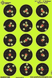 Splatterburst Targets - 12 x 18 inch - 3 inch Bullseye Reactive Shooting Target - Shots Burst Bright Fluorescent Yellow Upon Impact - Gun - Rifle - Pistol - Airsoft - BB Gun - Air Rifle