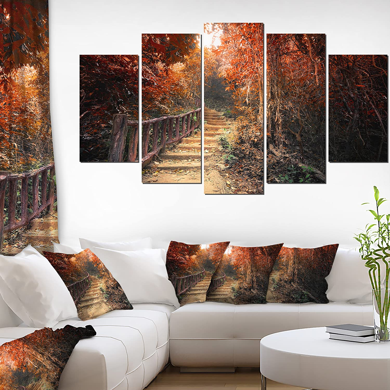 Designart Stairway Fall Forest-Landscape Photo Canvas Print-60x32 5 Piece, 60x32-5 Panels Diamond Shape, Red