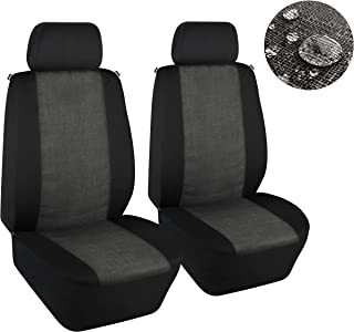 Elantrip WaterproofLinen Cloth Front Seat Covers Universal Fit Water Resistant Breathable Bucket Seat Cover Protection Airbag Compatible for Cars SUV Truck, Black and Gray 2 PC