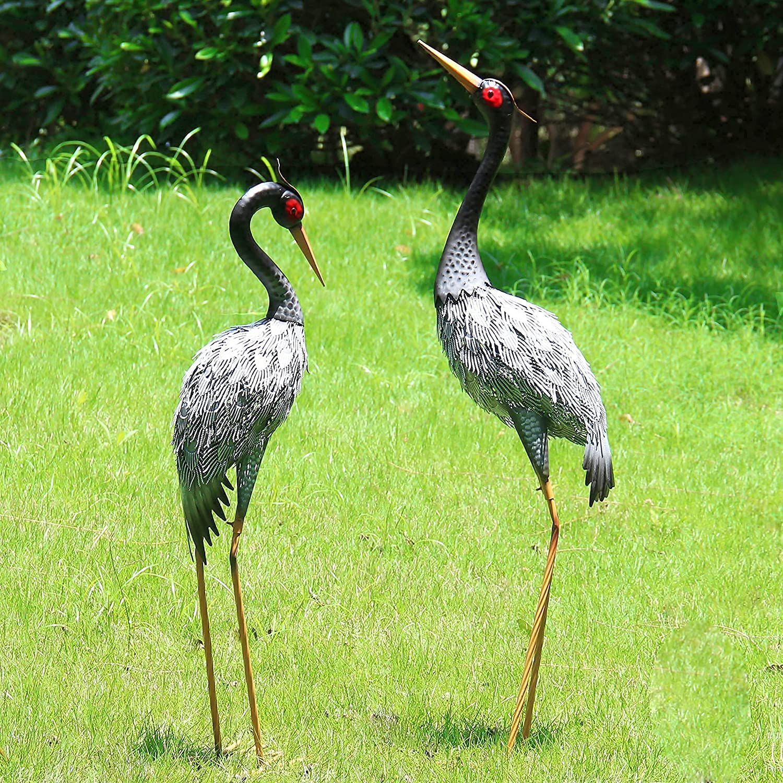 Houssy Outdoor Crane Statues, 40 Inch Metal Crane Garden Statues, Metal Yard Art Crane for Garden Yard Pond Patio Lawn Pool, Set of 2