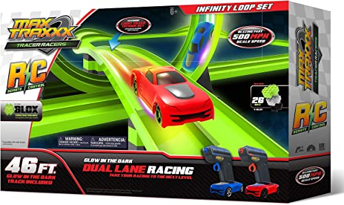 Obtén lo ultimo Max Traxxx R R R C Award Winning Tracer Racers High Speed Remote Control Infinity Loop Track Set by Max Traxxx  mejor servicio