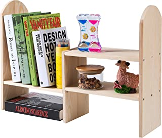 Natural Wood Modular Desktop Bookcase, Expandable Shelving Unit Organizer