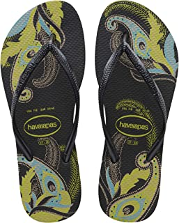 Havaianas Women's Slim Organic Flip Flop Sandal, Black/Grey, 37/38 BR (7-8 M US)
