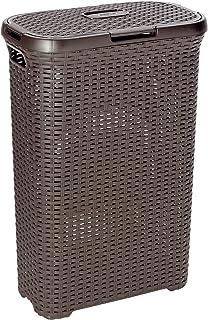 comprar comparacion Curver 193009 - Cesta de ropa Natural Style, con tapa configurable, 40 L, color chocolate