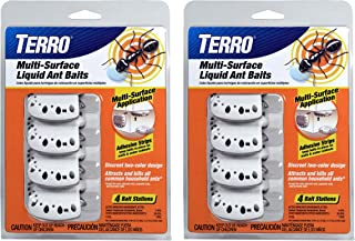 Terro T334SR 2 Pack � 8 Discreet Multi-Surface Liquid Ant 8 Bait Stations, Clear