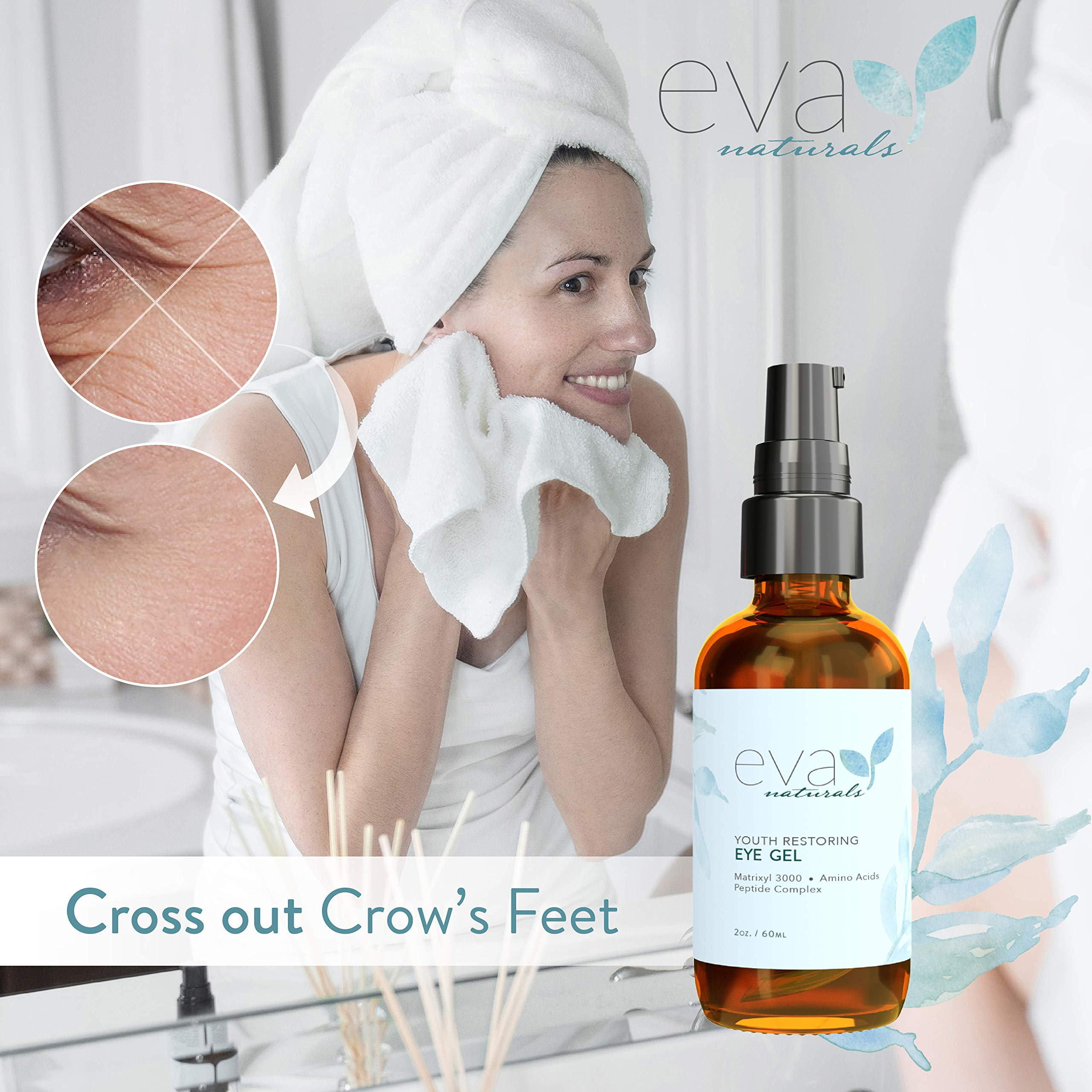 Eva Naturals Anti-Aging Eye Gel - Luxurious Hydrating Under Eye Cream For Bags, Dark Circles, Crows Feet, Wrinkles & Puffy Eyes - With Hyaluronic Acid, Vitamin E & Skin-Firming Peptides (2 Oz.)