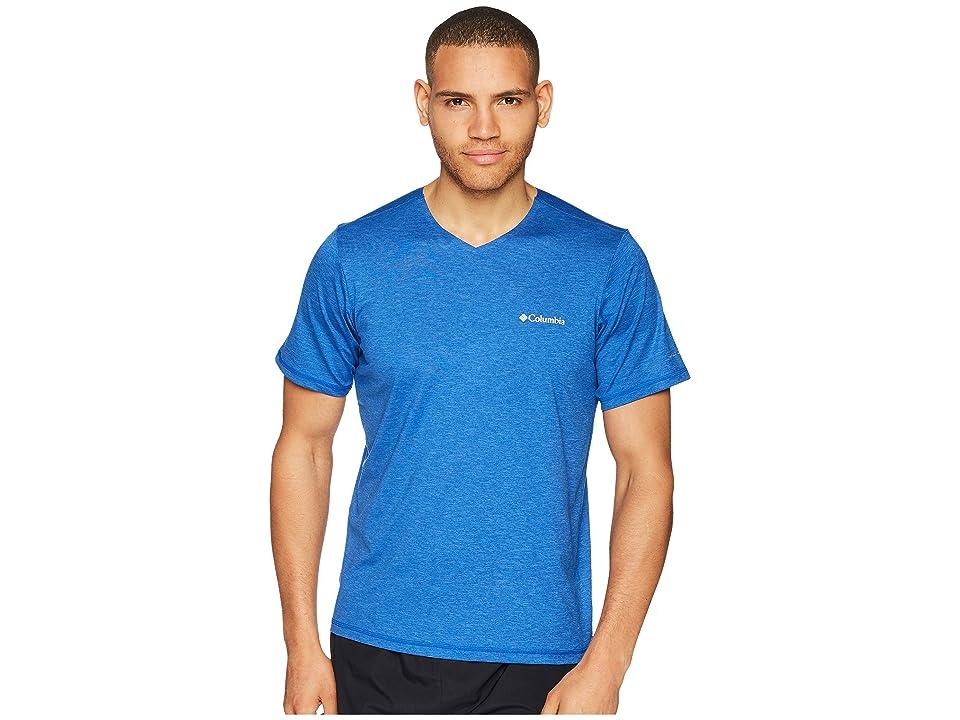 Columbia Tech Trail V-Neck Shirt (Azul Spacedye) Men
