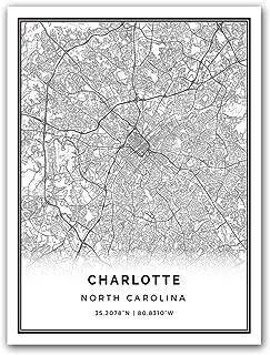 Squareious Charlotte map Poster Print | Modern Black and White Wall Art | Scandinavian Home Decor | North Carolina City Prints Artwork | Fine Art Posters 18x24