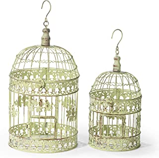 Moritz® Maceta Jaula Jaula Decorativa pájaro Jaula Pareja de pájaros Shabby Antiguo Estilo Antiguo Amarillo Verde