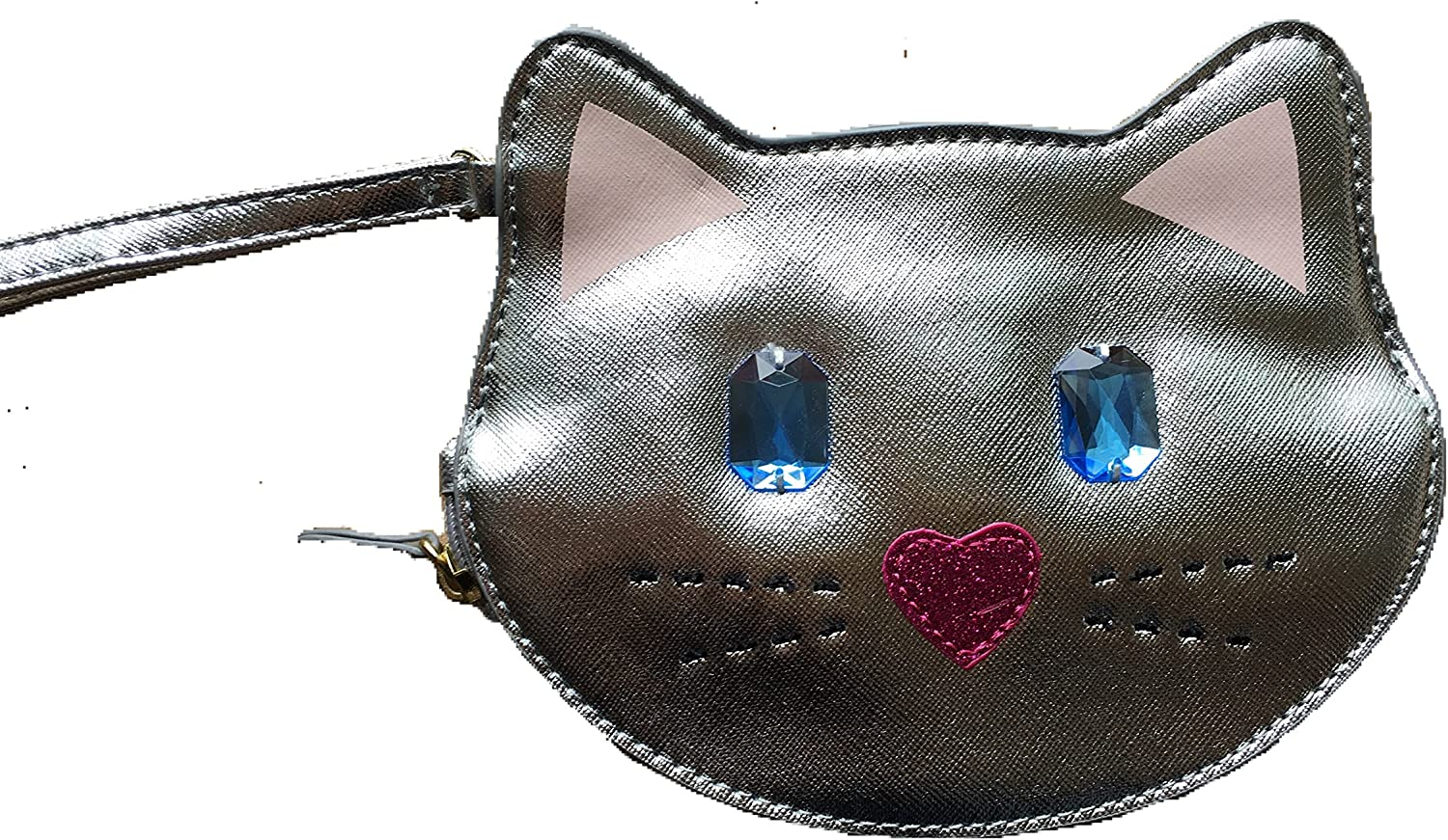 Betsey Johnson Silver Jeweled Cat Coin Purse