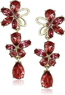 Anne Klein Women's Gold/Coral Flower Linear Earrings, Size 0