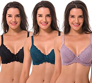 Semi-Sheer Balconette Underwire Lace Bra and Scalloped Hems (3 Pack)