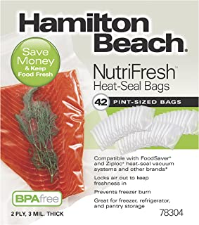 Hamilton Beach Vacuum Sealer Pint-Size Bags for NutriFresh, FoodSaver & Other Heat-Seal Systems (78304), 42-Pack, Clear