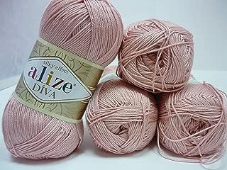 Hand Knitting Yarn 100% Microfiber Acrylic Yarn Alize Diva Silk Effect Thread Crochet Art Lace Craft Lot of 4 skeins 400gr 1532yds Color 363 Gently Pink