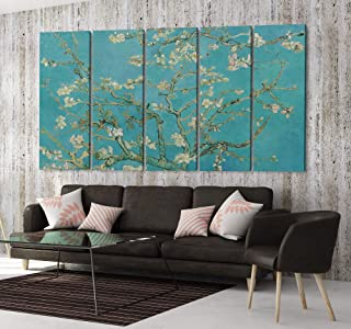 Blue Turquoise Van Gogh Blossoming Almond Tree Canvas Art Wall Art Home Decor (5 Piece Mega)