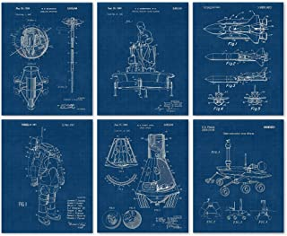 Vintage Space Patent Poster Prints, Set of 6 (8x10) Unframed Photos, Wall Art Decor Gifts Under 20 for Home, Office, Garage, Man Cave, College Student, Teacher, NASA, Aviation, Astronomy Fan