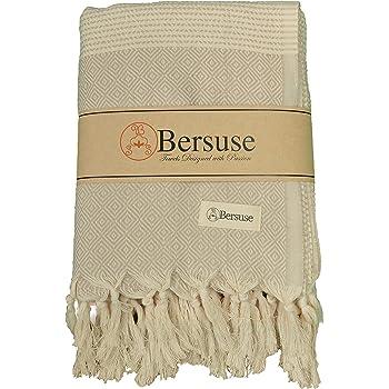 Bersuse 100% Cotton Hierapolis XL Blanket Turkish Towel, 60X95 Inches, Beige