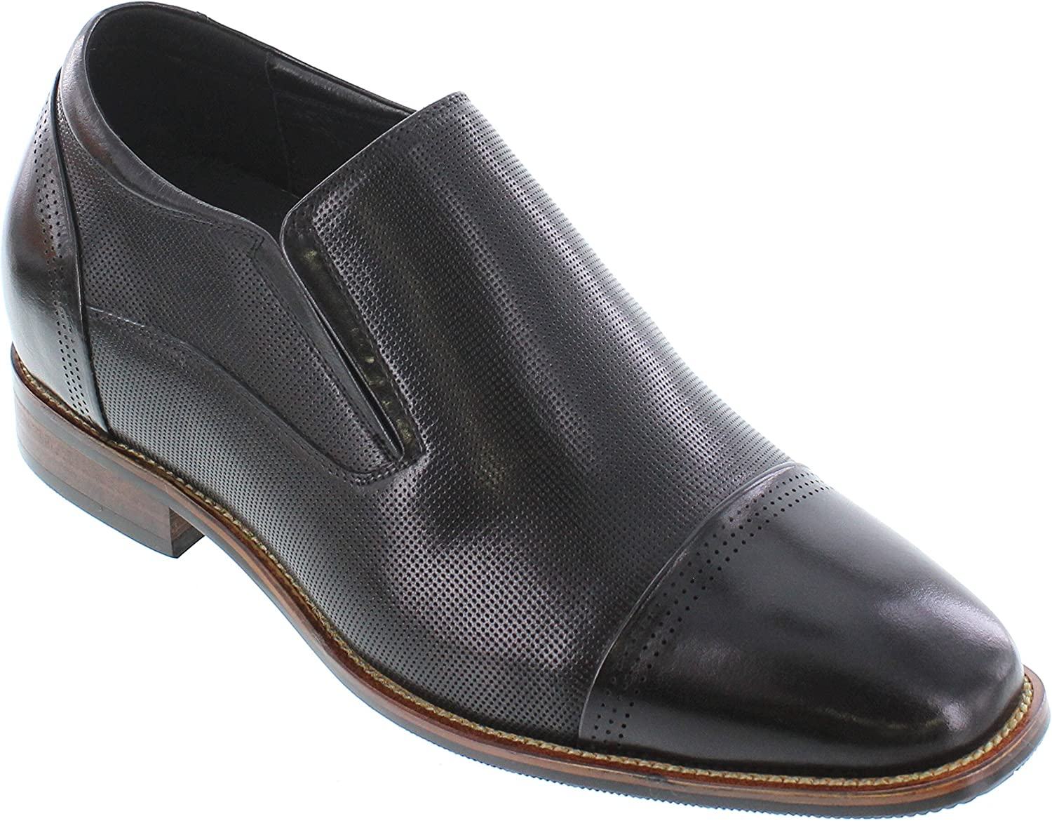 CALTO Men's Invisible Height Increasing Elevator shoes - Black Premium Leather Slip-on Dress Loafers - 3 Inches Taller - Y10657