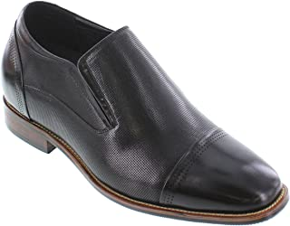 CALTO Men's Invisible Height Increasing Elevator Shoes - Premium Leather Slip-on Dress Loafers - 3 Inches Taller