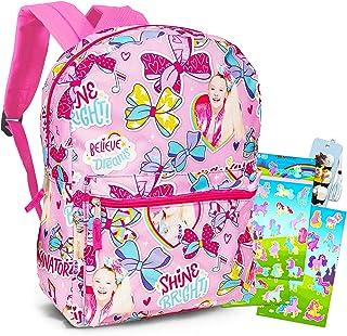 "Jojo Siwa Backpack Set for Girls - 4 Pc 16"" Jojo Siwa School Backpack Bag Bundle with Bow, Stickers and Bookmark (Jojo Siw..."