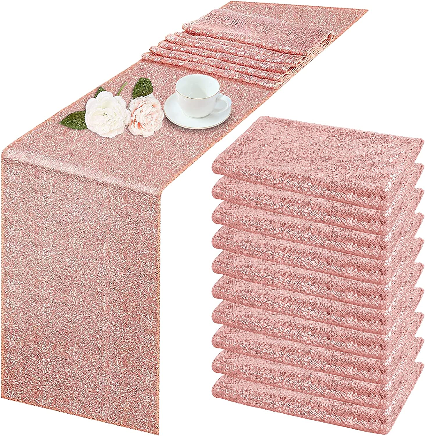 YMHPRIDE 10 Pack Sequin 2021 spring and summer new Table Runner Rose Year-end annual account Gold 72