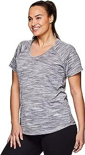 Active Women's Plus Size Yoga Workout Short Sleeve V-Neck Tee Shirt