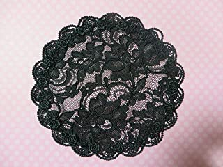 Handmade black lace doily head cover with scalloped trim Hair Covering Kippah Yarmulke Veil (and decorative bobby pin) (Style 1049) Elegant Doily Exclusive