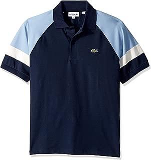 Lacoste Men's S/S TECHNIC Pique Colorblock Polo Classic FIT Shirt, Navy Blue/APHYLLA/geode, S