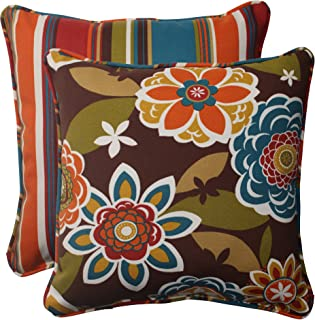 Pillow Perfect Indoor/Outdoor Annie Westport Reversible Corded Throw Pillow, 18.5-Inch, Chocolate, Set of 2