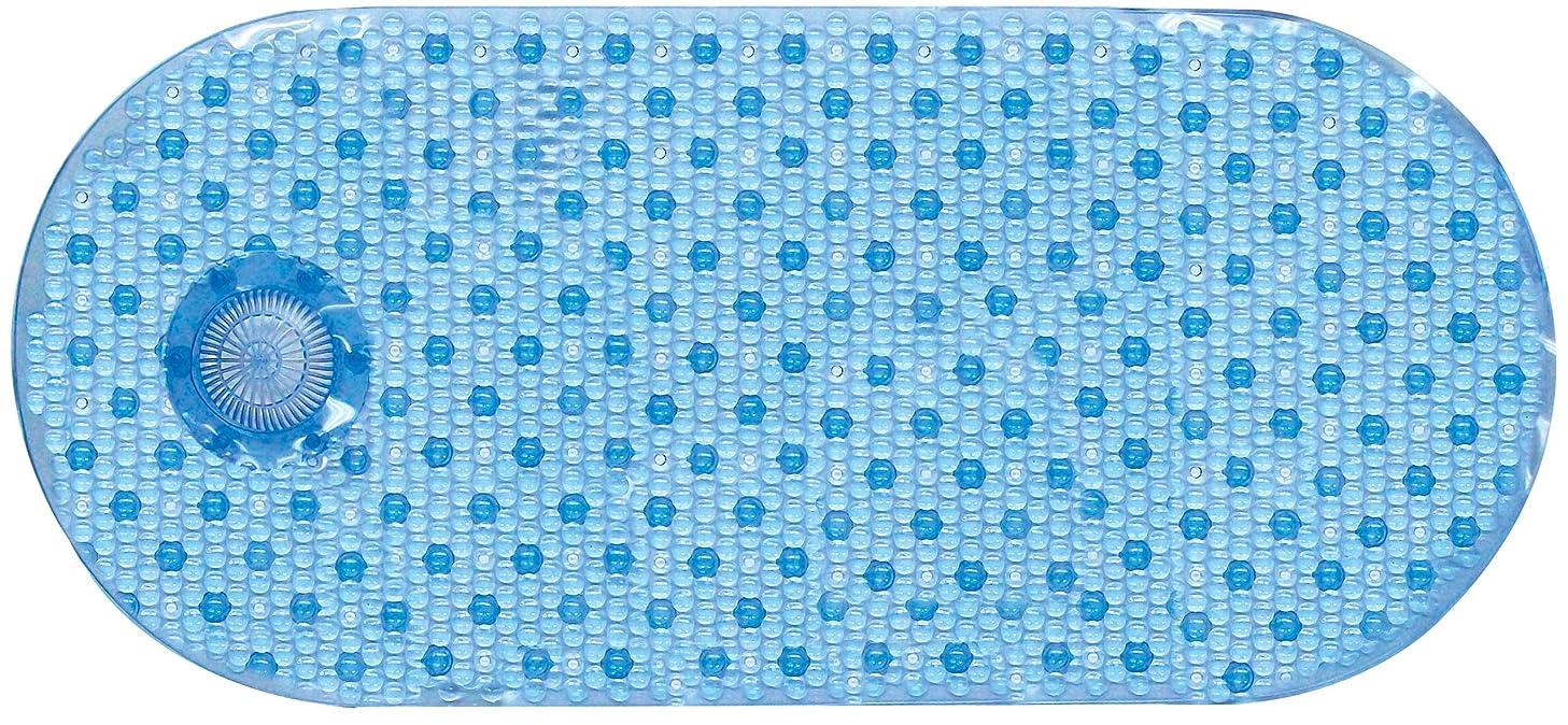 AquaTouch Vinyl Bath Mat with Hair Catcher, Blue 14' x 34'