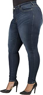 Poetic Justice Plus Size Women's Curvy Fit Medium Whiskering Blasted Skinny Jeans