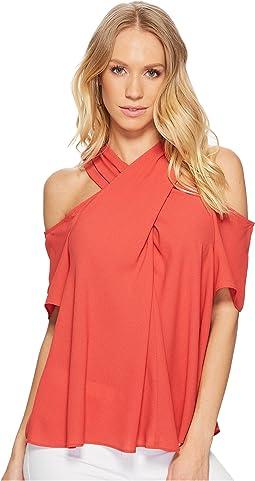 1.STATE - Short Sleeve Cold Shoulder Cross Neck Blouse