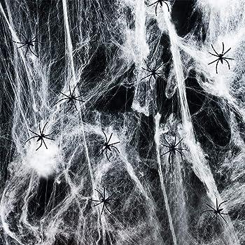interiores y exteriores con ara/ñas falsas para decoraciones de fiesta de Halloween 50 ara/ñas 100 ara/ñas negras Decoraciones de Halloween Telara/ñas de ara/ña Tela de ara/ña de 1000 pies cuadrados