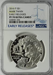 2016-P Mark Twain Commemorative Silver Dollar, PF70UCAM, Early Releases, NGC