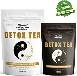 Everlong Detox Tea V2.0 - Enhanced 28 Day Ultimate Teatox(Morning Boost & Night Cleanse)-Burn Fat, Reduce Bloating, Accelerate Weight Loss-Comprehensive Solution to Regenerate Your Body In Natural Way