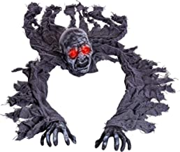 Halloween Haunters Speaking Skeleton Zombie Grim Reaper Groundbreaker Prop Decoration with Red Flashing Skull Lights - Life-Size, Laughs, Moans, Groans - Haunted House Graveyard, Cemetery, Tombstone