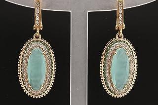 Green Oval Cat Eye and Pearl Dangle Turkish Handmade Gemstone Statement Earring