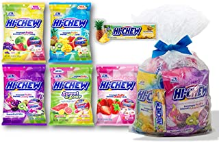 Hi-Chew Peg Bag Variety Mix 5 Different Mixes (Original, Tropical, Sweet and Sour, Plus Fruit, and Strawberry) Plus 1 Bar Pineapple Flavor Special Wrapped (6-Pc Set)