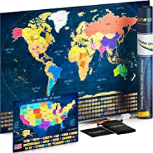 Mapamondo Scratch Off World Map Poster with United States Scratch Off Map, 236 Country Flags, States Flags, Gift Tube, Complete Accessories Kit,Large
