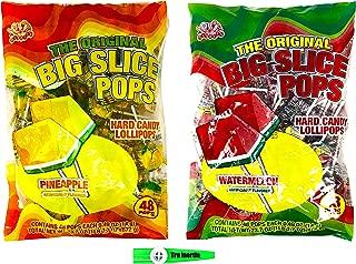 Big Slice Lollipops Pineapple and Watermelon Hard Candy Lollipops 48 Pops Per Flavor (96 Pops Total) with Tru Inertia Kazoo
