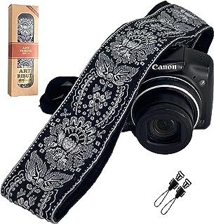 Kameragurt Royal Silber & Schwarz gewebt für alle DSLR Kameras Bestickt Elegant Universal Hals & Schultergurt Einzigartiges Muster Beste Strumpffüller für Männer & Frauen Fotografen