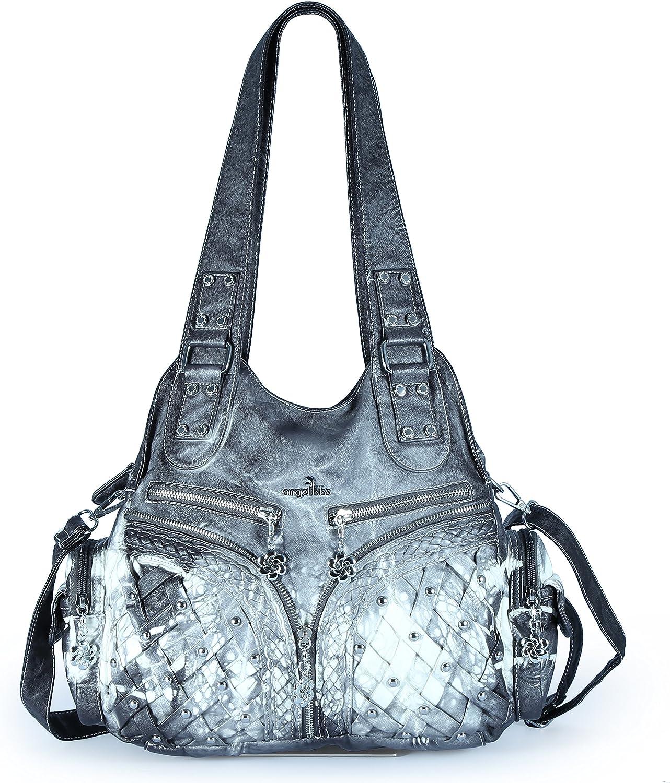 Angelkiss 2 Purses and Handbags Washed PU Leather Shoulder Bag Massage Bag Fits Ipad