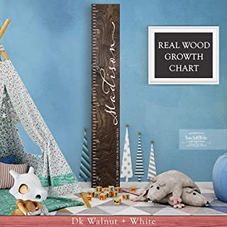 Wooden Kids Growth Height Chart Ruler for Boys and Girls Painted (The Madison) by Back40Life - Express Edition