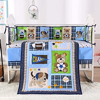 Wowelife Nursery Set Sports 7 Piece Blue Baseball Dog and Bear Crib Bedding Sets for Boys with 4 Bumpers