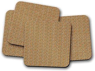 Posavasos marrones de diseño retro con diseño circular, posavasos individuales o juego de 4